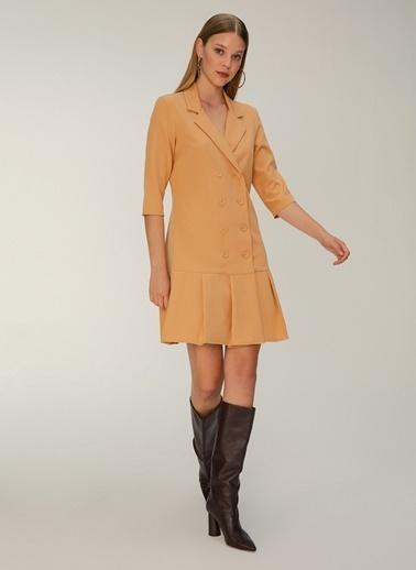 NGSTYLE Çift Düğmeli Ceket Elbise Camel